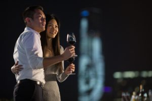 HONG KONG - OCTOBER 22: Guest toast  during the CCB (Asia) Hong Kong Wine & Dine Festival in Central district on October 22, 2015 in Hong Kong, China. Hong Kong holds the CCB (Asia) Hong Kong Wine & Dine Festival featuring over 300 booths from over 20 countries. (Photo by Jerome Favre/Getty Images for Hong Kong Images)